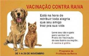 A campanha contra a RAIVA estará sendo realizada de 1º a 20 de Novembro.