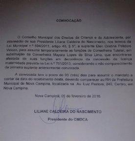 CONVOCA��O CMDCA