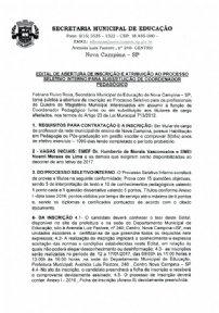 EDITAL DE ABERTURA - PROCESSO SELETIVO INTERNO PARA SUBSTITUIÇÃO DE COORDENADOR PEDAGÓGICO