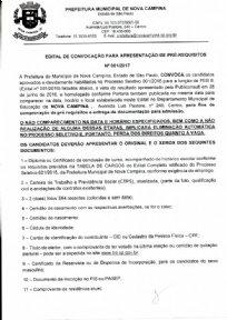 EDITAL DE CONVOCAÇÃO PARA APRESENTAÇÃO DE PRÉ-REQUISITOS