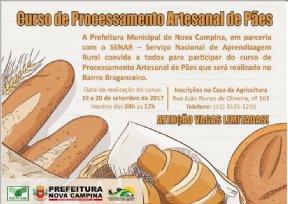 PREFEITURA ABRE INSCRIÇÕES PARA O CURSO DE PROCESSAMENTO ARTESANAL DE PÃES