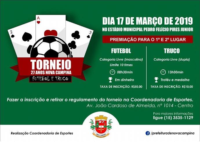 Prefeitura abre inscrições para torneio de futebol e truco