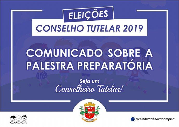 Comunicado sobre a palestra preparatória para Eleição do Conselho Tutelar