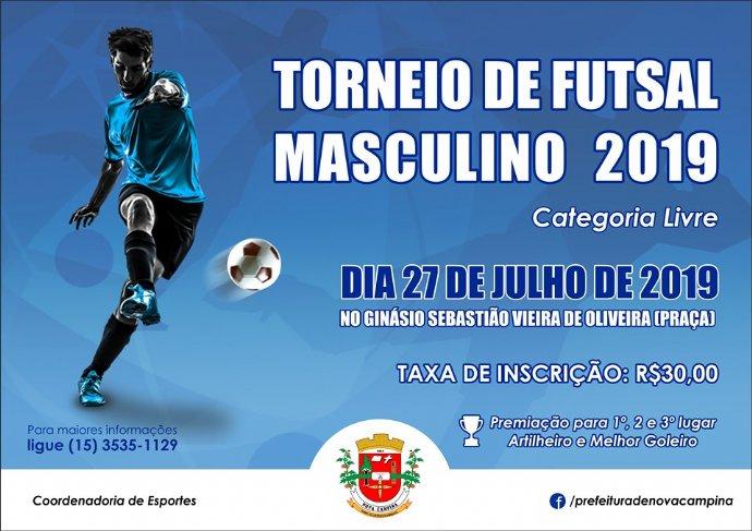 Prefeitura abre inscrições para torneio de futsal masculino