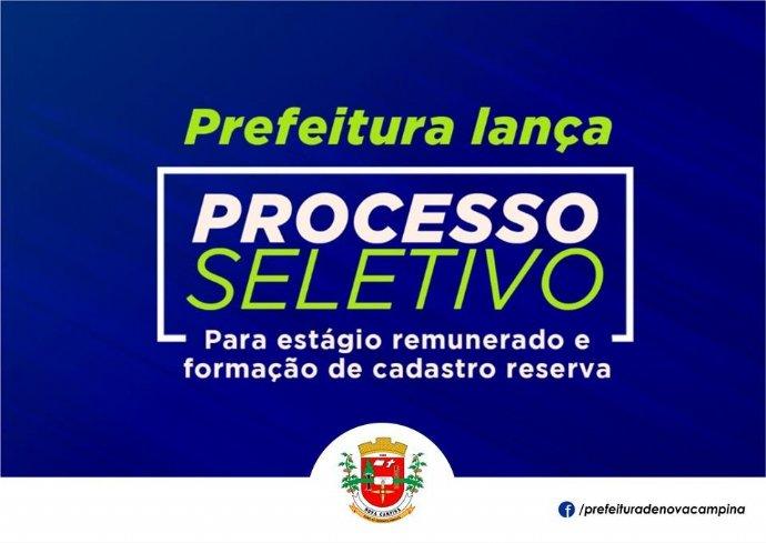 Prefeitura de Nova Campina abre inscrições para Processo Seletivo de Estagiários
