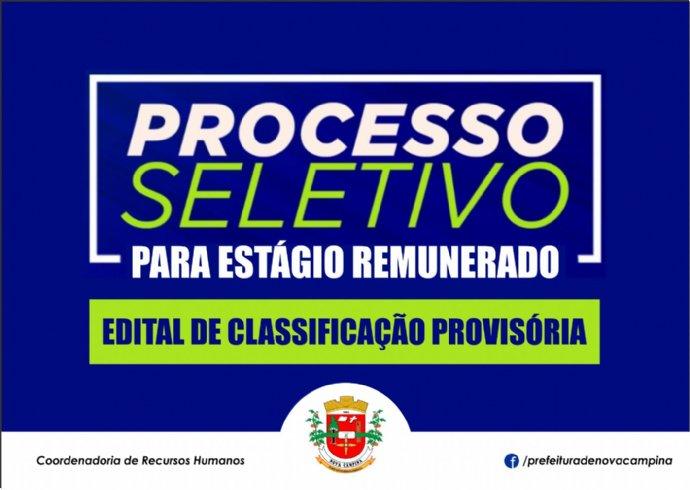 Prefeitura divulga classificação provisória do Processo Seletivo para Estagiários