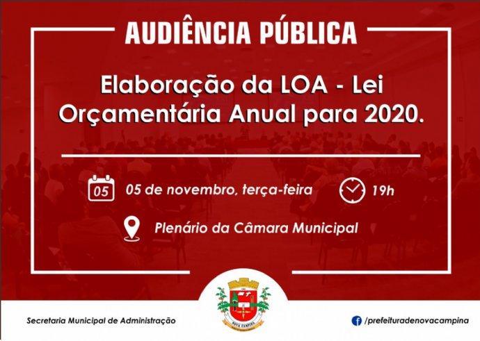 Prefeitura irá realizar Audiência Pública