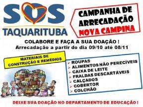 CAMPANHA DE ARRECADAÇÃO- COLABORE COM TAQUARITUBA