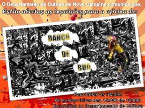 O Departamento de Cultura Divulga que as inscrições para a Oficina de Dança de Rua estão abertas.