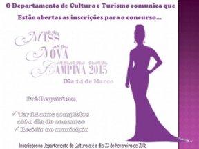 O Departamento de Cultura do município, comunica que estão abertas as inscrições para o Miss Nova Ca