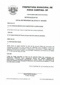 RATIFICAÇÃO N°01/ EDITAL PROCESSO SELETIVO