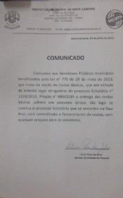 COMUNICADO AOS SERVIDORES.