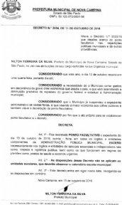 DECRETO Nº 2034, DE 11 DE OUTUBRO DE 2016 ALTERA O DECRETO Nº 2033/16