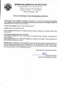 EDITAL DE INSCRIÇÃO PARA PROFESSORES EVENTUAIS