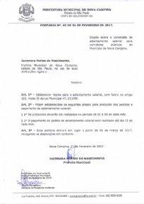 PORTARIA Nº 45 DE 21 DE FEVEREIRO DE 2017