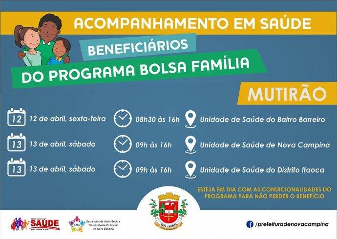 Mutirão do Bolsa Família será realizado nas unidades de saúde de Nova Campina