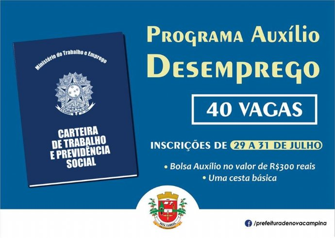 Prefeitura abre 40 vagas para Programa de Auxílio Desemprego