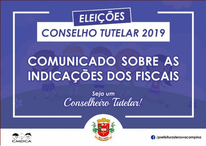 Comunicado sobre o credenciamento de fiscais para a Eleição do Conselho Tutelar