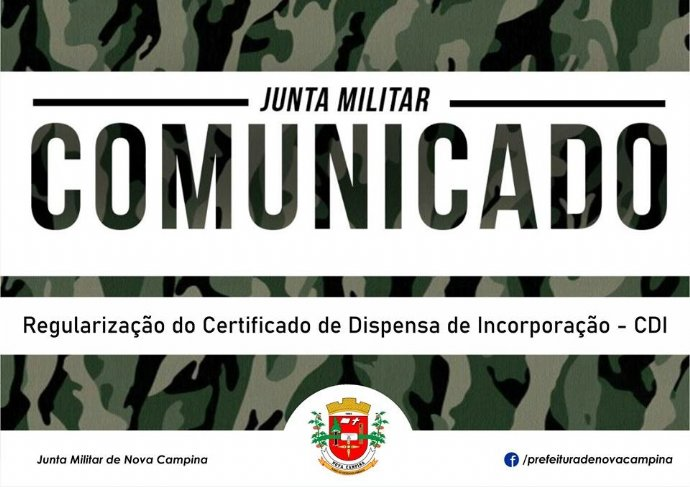 Junta Militar divulga relação de jovens que devem regularizar o Certificado de Dispensa de Incorpora