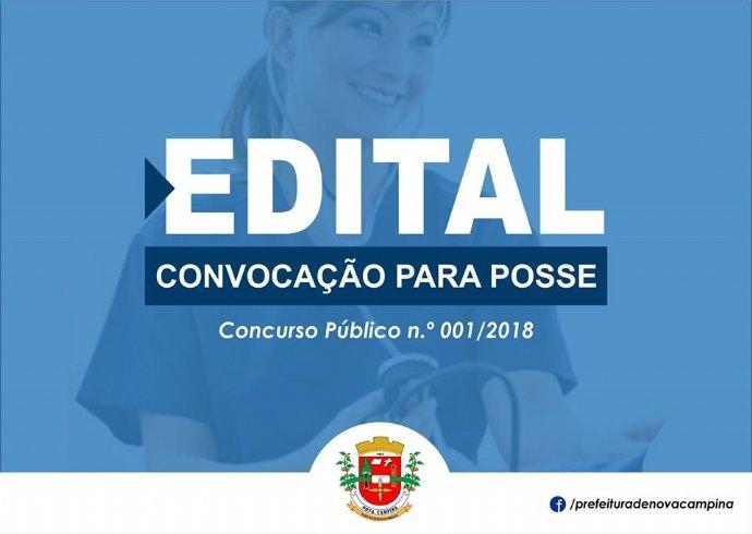 Prefeitura divulga convocação para Posse e Relação de Candidatos Eliminados