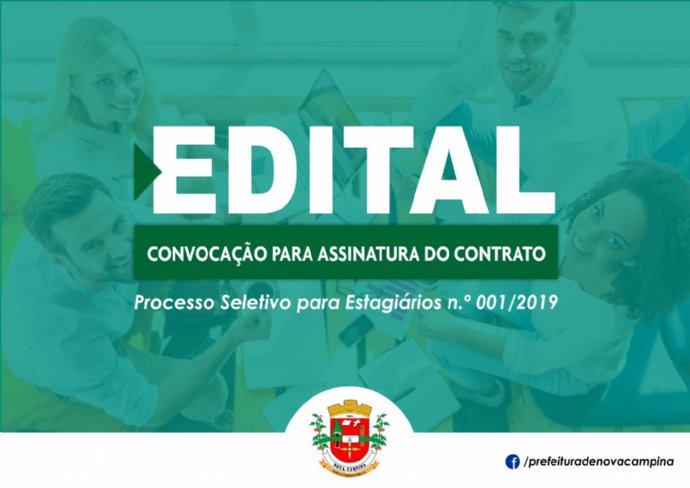 Prefeitura divulga convocação para assinatura do Contrato de Estágio