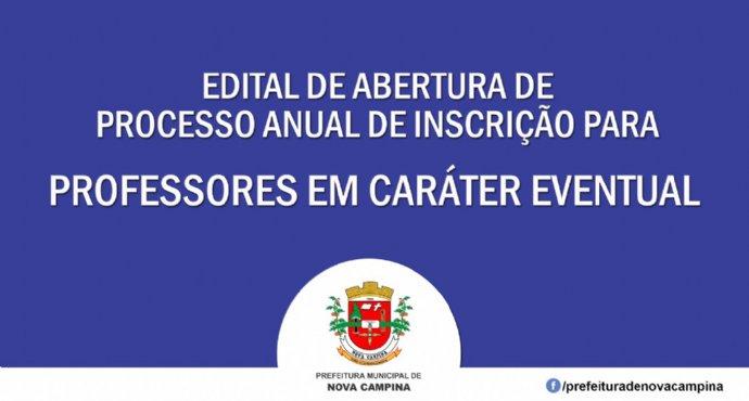 Secretária de Educação torna público a abertura de inscrição para Professores Eventuais