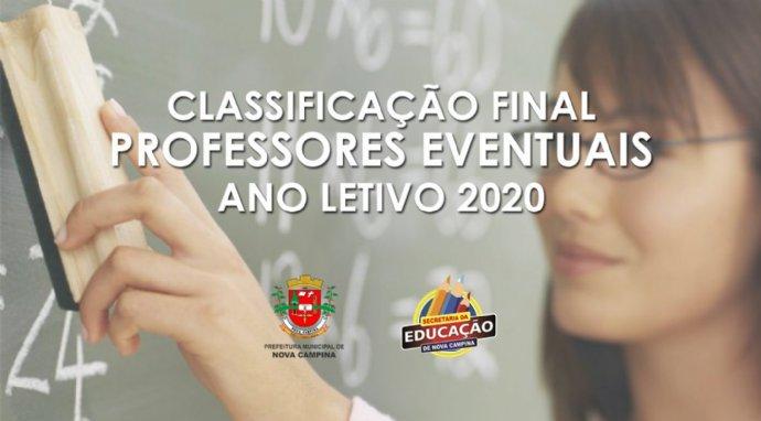 Secretaria de Educação divulga classificação final de professores eventuais para 2020