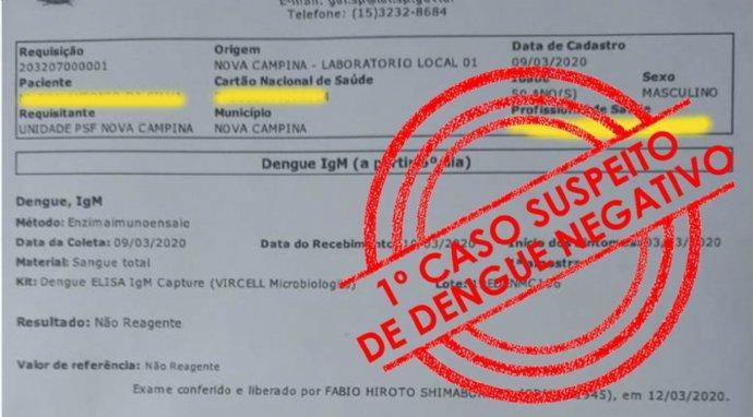 Exames descartam primeiro caso suspeito de dengue no município