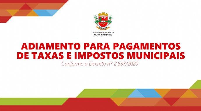 Prefeitura determina adiamento no prazo para pagamento de taxas e impostos municipais
