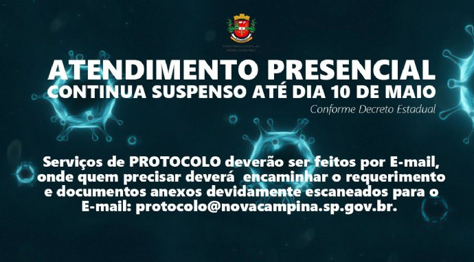 Serviço de protocolo está disponível apenas por e-mail.