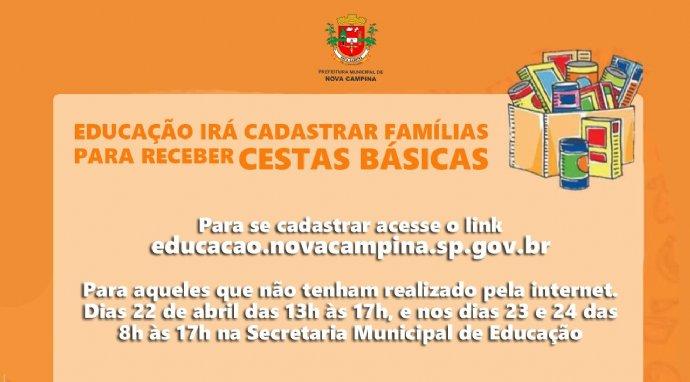 Educação irá cadastrar famílias para receber kits de merenda escolar