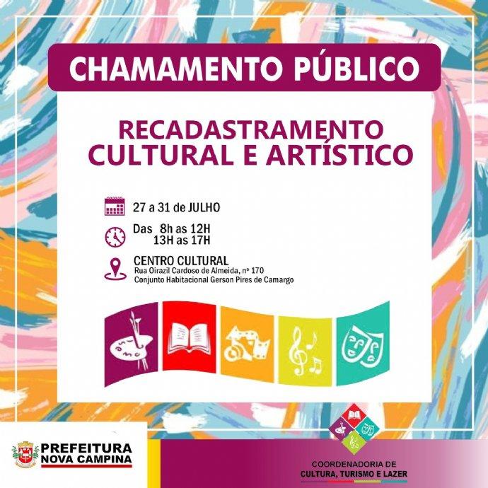 Recadastramento cultural e artístico 2020