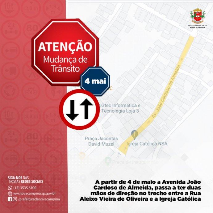 Trecho da Avenida João Cardoso de Almeida volta a ter duas mãos de direção