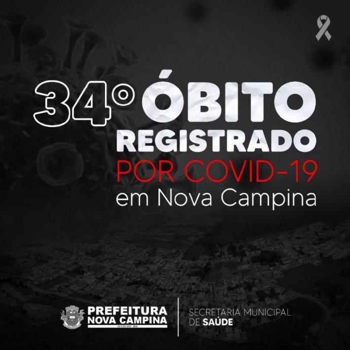 Nova Campina registra 34º óbito por Covid-19