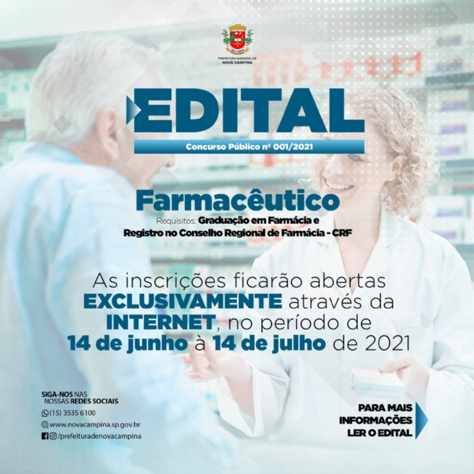 Município de Nova Campina abre Concurso Público para Farmacêutico