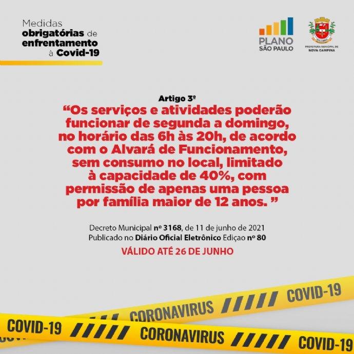 Nova Campina prorroga decreto com medidas restritivas em combate ao avanço da COVID-19