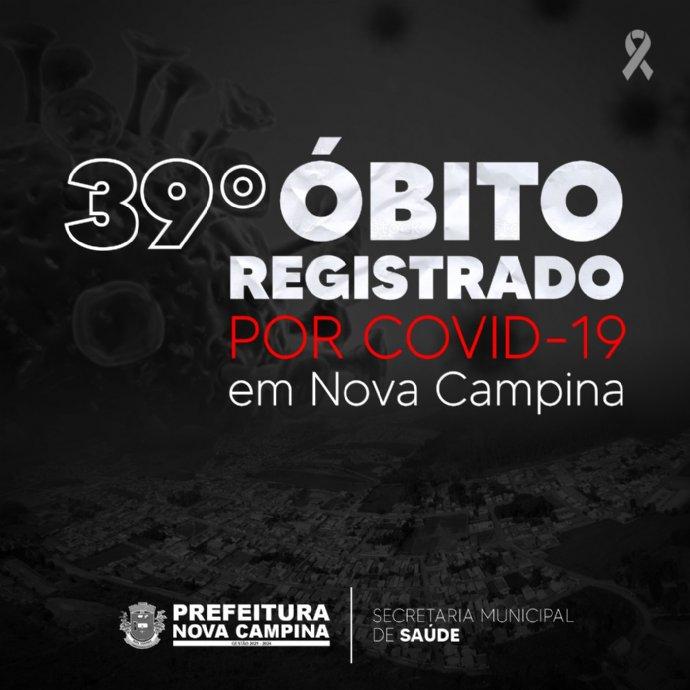 Nova Campina registra 39º óbito por Covid-19