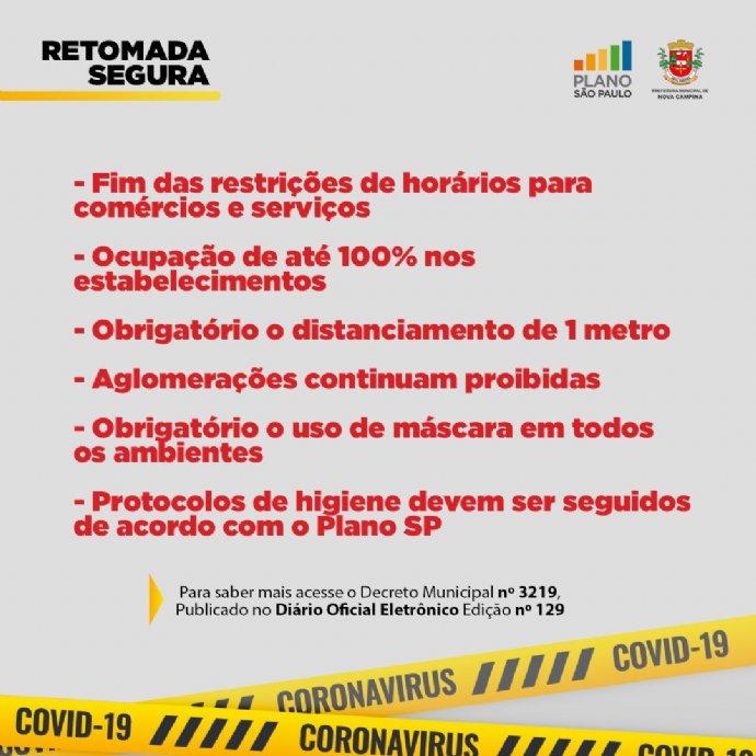 Nova Campina segue na Fase Retomada Segura do Plano São Paulo