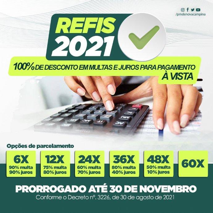 Refis 2021 é prorrogado até 30 de novembro