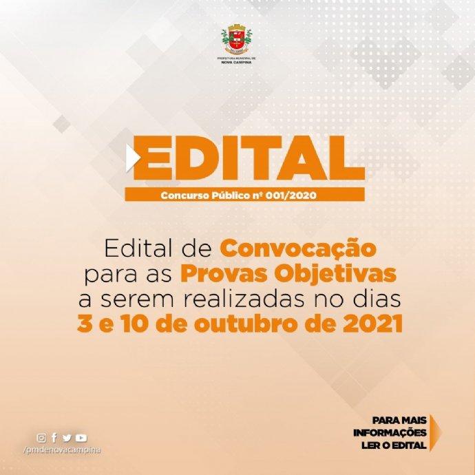 Município de Nova Campina divulga Edital de Convocação para as Provas do Concurso 001/2020