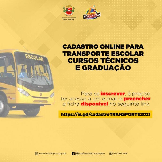 Município abre cadastro online para transporte escolar de cursos técnicos e de graduação