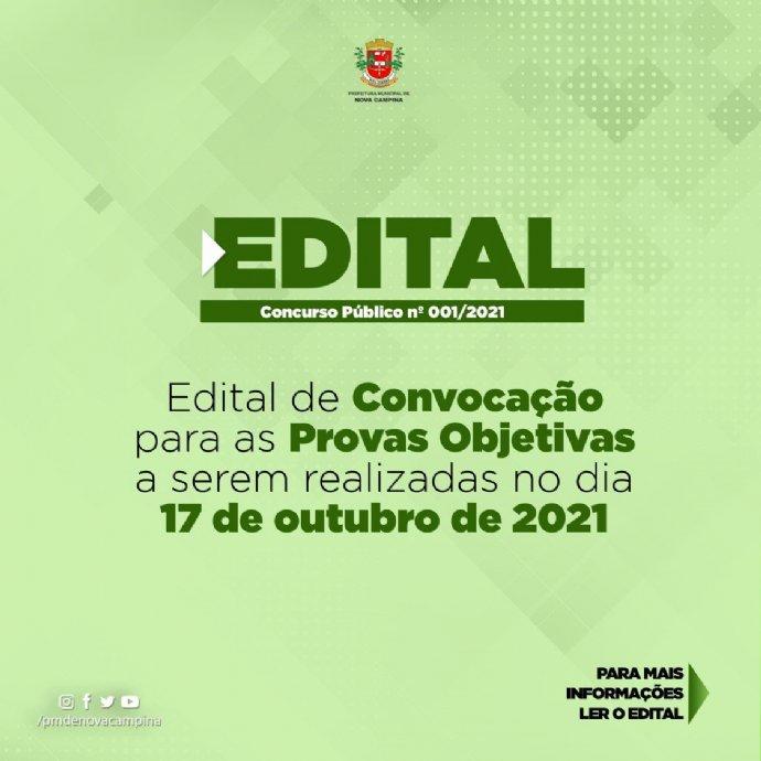 Edital de Convocação para as Provas Objetivas do Concurso 001/2021 para o cargo de Farmacêutico