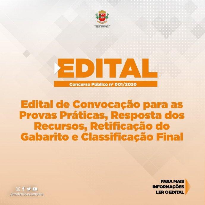 Edital de Convocação para as Provas Práticas, Resposta dos Recursos, Retificação do Gabarito e Class