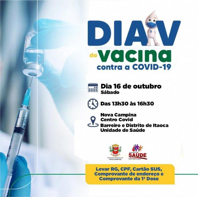 Município promove o 'Dia V' da Vacina contra a Covid-19 neste sábado