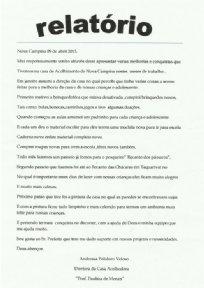Relatório das Atividades realizadas na Casa Acolhedora Dona Paulina de Morais