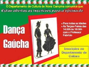 O Departamento de Cultura Divulga que as inscrições para a Oficina de Dança Gaúcha estão abertas.